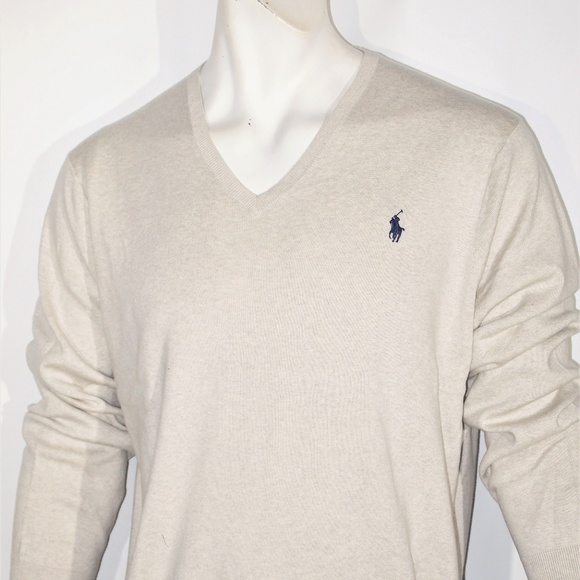 on feet images of authorized site detailing Polo Ralph Lauren men's pima v-neck sweater NWT